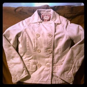 American Eagle white jacket w/ striped lining
